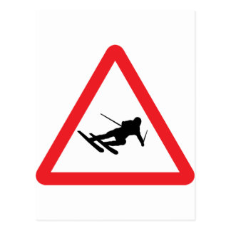 downhill skiing ski warning sign postcard