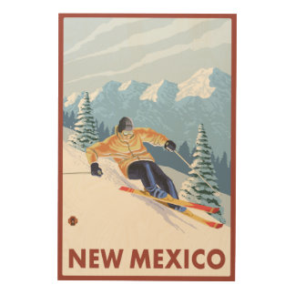 Downhill Snow SkierNew Mexico Wood Wall Art