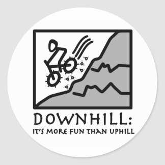 Downhill Thrill Mountain Biking Classic Round Sticker