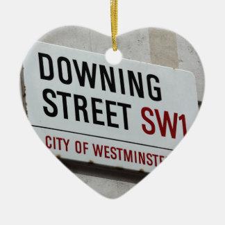 Downing Street Sign Ceramic Heart Decoration