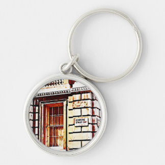 Downing Street Sign Silver-Colored Round Key Ring