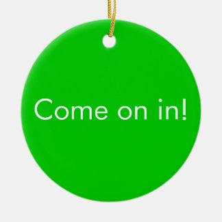 Download in Progress / Come on in toilet door Sign Christmas Ornament