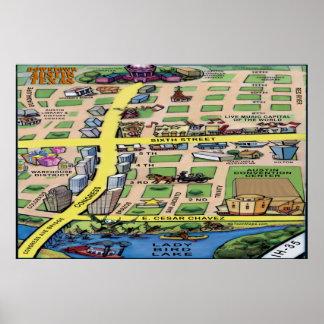 Downtown Austin Texas Cartoon Map Poster