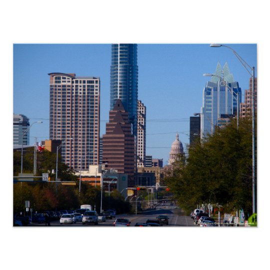 Downtown Austin, Texas, Zoomed Poster