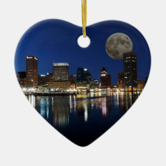 Downtown Baltimore Maryland Dusk Skyline Moon Christmas Ornament