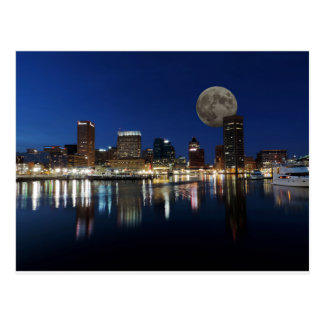 Downtown Baltimore Maryland Dusk Skyline Moon Postcard