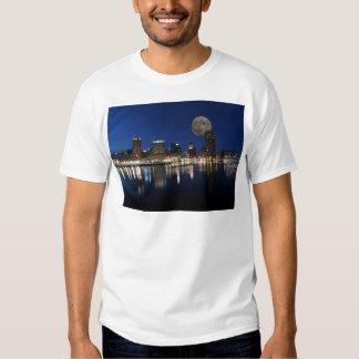 Downtown Baltimore Maryland Dusk Skyline Moon Tee Shirt