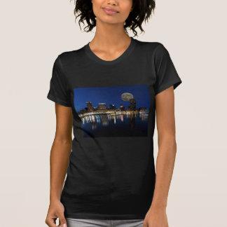 Downtown Baltimore Maryland Dusk Skyline Moon Tee Shirts