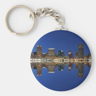 Downtown Baltimore Maryland Dusk Skyline Reflectio Key Ring
