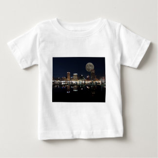 Downtown Baltimore Maryland Night Skyline Moon Baby T-Shirt
