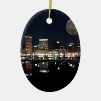 Downtown Baltimore Maryland Night Skyline Moon Christmas Ornament