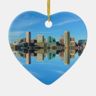 Downtown Baltimore Maryland Skyline Reflection Christmas Ornament