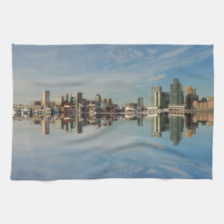 Downtown Baltimore Maryland Skyline Reflection Tea Towel