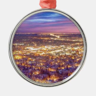 Downtown Boulder Colorado City Lights Sunrise Christmas Ornament