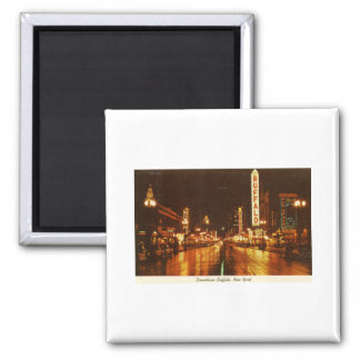 Downtown Buffalo NY at Night Vintage Magnet