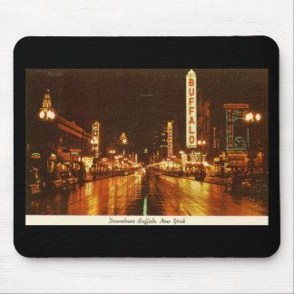 Downtown Buffalo NY at Night Vintage Mouse Mat