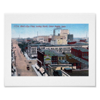 Downtown, Cedar Rapids, Iowa 1913 Vintage Poster