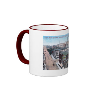 Downtown, Cedar Rapids, Iowa 1913 Vintage Ringer Mug