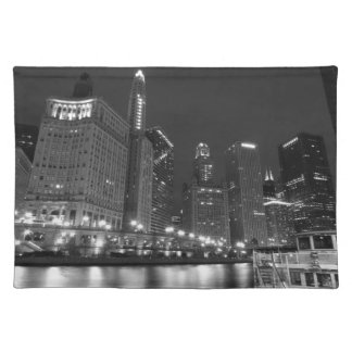 Downtown Chicago Black and White Placemat