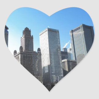 Downtown Chicago on the Chicago River Heart Stickers