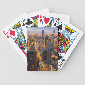 Downtown Chicago skyline at dusk Bicycle Playing Cards