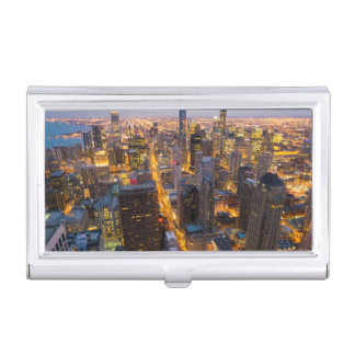 Downtown Chicago skyline at dusk Business Card Holder