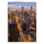 Downtown Chicago skyline at dusk Greeting Card