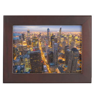 Downtown Chicago skyline at dusk Keepsake Box