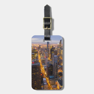 Downtown Chicago skyline at dusk Luggage Tag