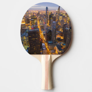 Downtown Chicago skyline at dusk Ping Pong Paddle