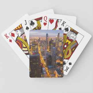 Downtown Chicago skyline at dusk Playing Cards