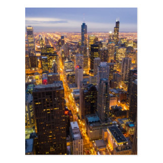 Downtown Chicago skyline at dusk Postcard