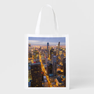 Downtown Chicago skyline at dusk Reusable Grocery Bag