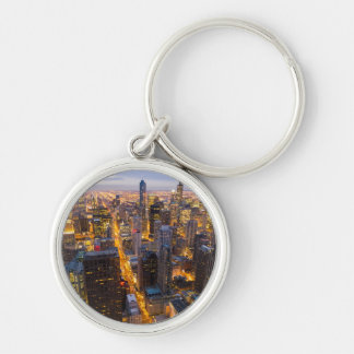 Downtown Chicago skyline at dusk Silver-Colored Round Key Ring