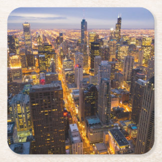 Downtown Chicago skyline at dusk Square Paper Coaster