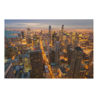 Downtown Chicago skyline at dusk Wood Wall Art
