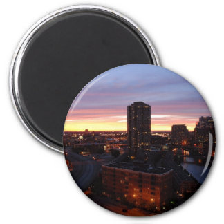 Downtown Chicago Sunset 6 Cm Round Magnet