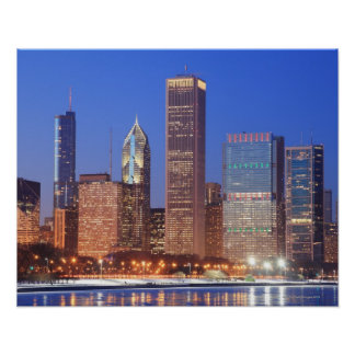 Downtown Chicago with skyscrapers including Poster