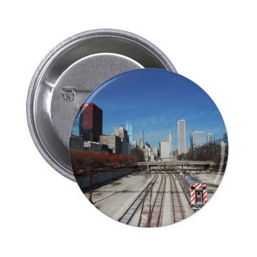 Downtown Chicago with train tracks Button
