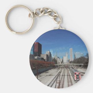 Downtown Chicago with train tracks Basic Round Button Key Ring