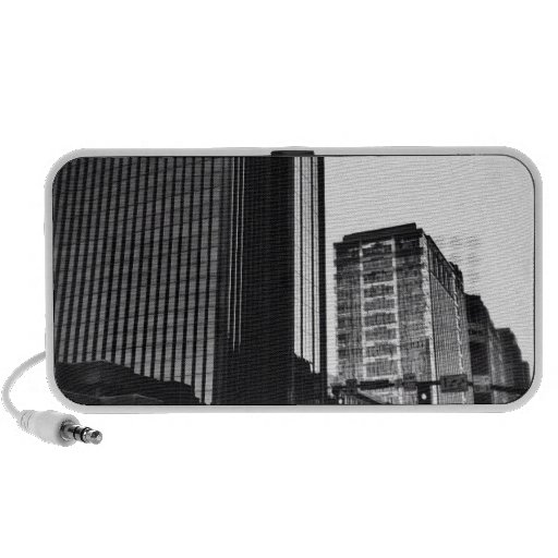 Downtown City Buildings, Black & White Laptop Speakers