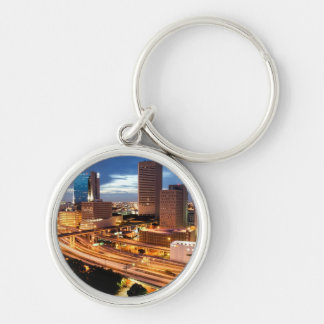 Downtown City View Silver-Colored Round Key Ring
