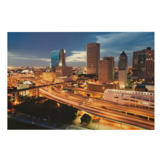 Downtown City View Wood Canvas
