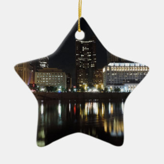 Downtown Columbus skyline at night Christmas Ornament