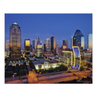 downtown dallas skyline poster