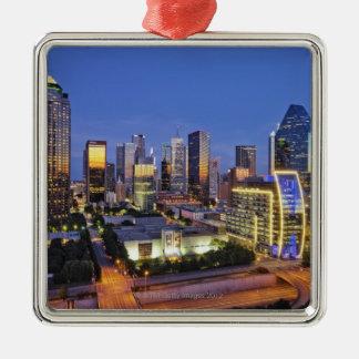 downtown dallas skyline Silver-Colored square decoration