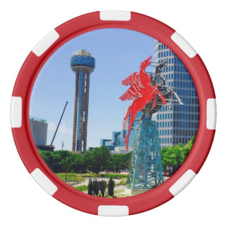 Downtown Dallas Texas Set Of Poker Chips