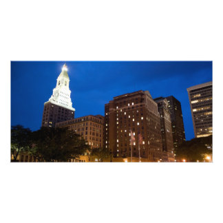 Downtown Hartford Connecticut at Night Photo Greeting Card