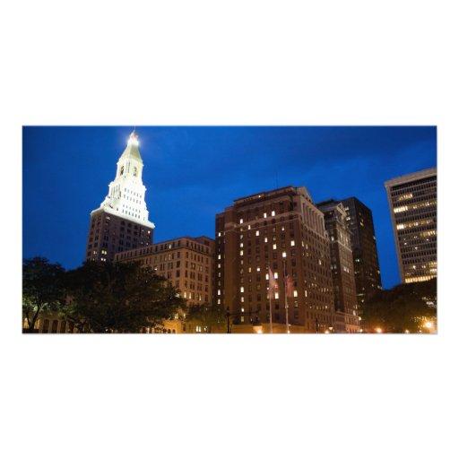 Downtown Hartford Connecticut at Night Photo Greeting Card