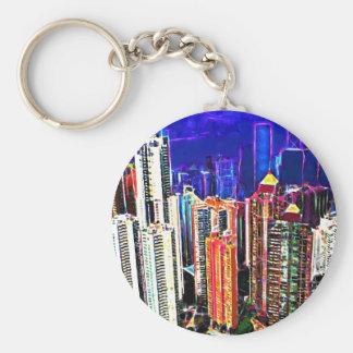 Downtown Hong Kong: China: Basic Round Button Key Ring